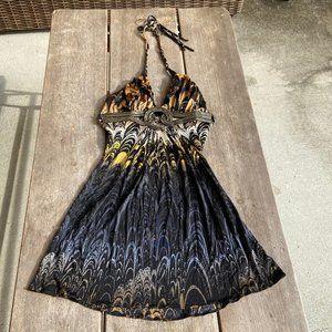 Sky Gray Gold Bronze Print Mini Dress Halter XS